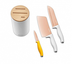 Набор ножей с подставкой Xiaomi Solista Solo Titanium Plated Cutter 4in1 Rose Gold